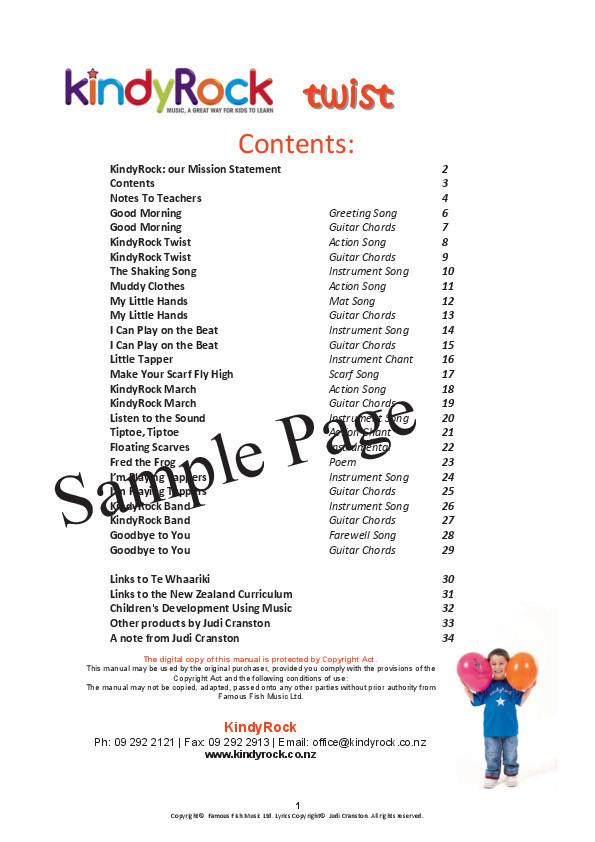 kindyRock Twist Digital Download by Judi Cranston - Contents